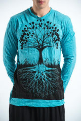 Sure Design Unisex Long Sleeve Shirts Tree of Life in Turquoise