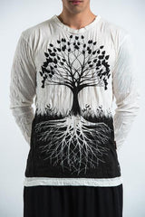 Sure Design Unisex Long Sleeve Shirts Tree of Life in White