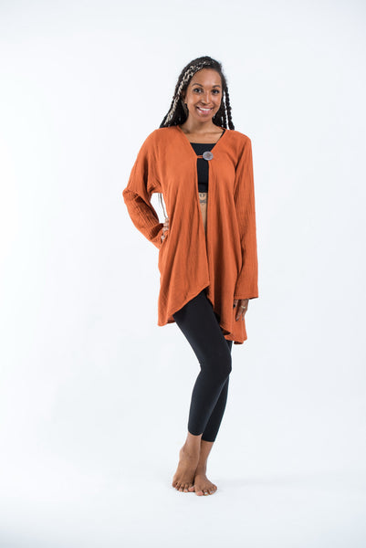 Women's Thai Lightweight Cotton Cover Up Blouse in Rust