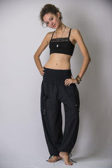 Women's Thai Smocked Waist Cotton Pants in Black