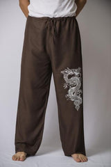Mens Thai Cotton Yoga Pants With Dragon Print Brown