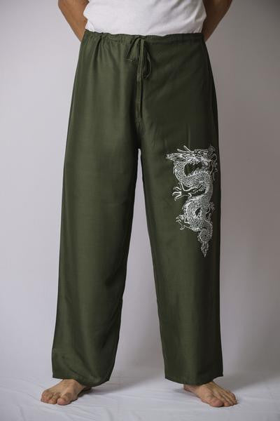 Mens Thai Cotton Yoga Pants With Dragon Print Green