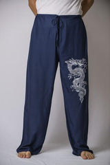 Mens Thai Cotton Yoga Pants With Dragon Print Navy Blue
