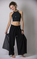 Women's Thai Harem Double Layers Palazzo Pants in Solid Black
