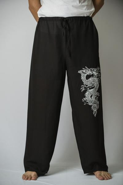 Mens Thai Cotton Yoga Pants With Dragon Print Black