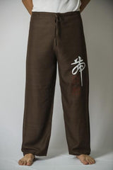 Mens Thai Cotton Yoga Pants With Chinese Writing Print Brown