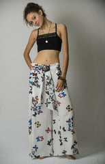 Women's Thai Harem Palazzo Pants in Butterflies Blue