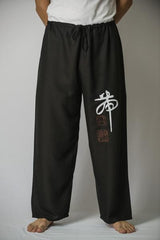 Mens Thai Cotton Yoga Pants With Chinese Writing Print Black