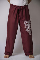 Mens Thai Cotton Yoga Pants With Dragon Print Burgundy