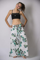 Women's Thai Harem Palazzo Pants in Butterflies Green