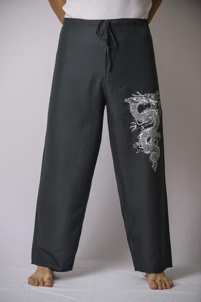 Mens Thai Cotton Yoga Pants With Dragon Print Gray
