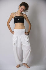 Women's Thai Smocked Waist Cotton Pants in White