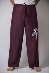 Mens Thai Cotton Yoga Pants With Chinese Writing Print Purple