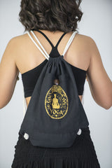 Yoga Stamp Drawstring Cotton Canvas Backpack in Gold on Black