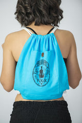 Yoga Stamp Drawstring Cotton Canvas Backpack in Blue