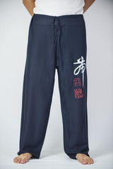 Mens Thai Cotton Yoga Pants With Chinese Writing Print Navy