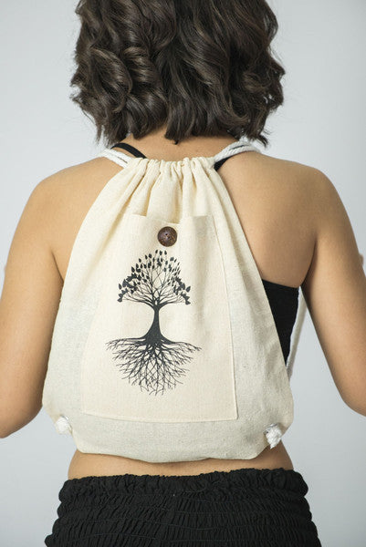 Tree of Life Drawstring Cotton Canvas Backpack in Cream