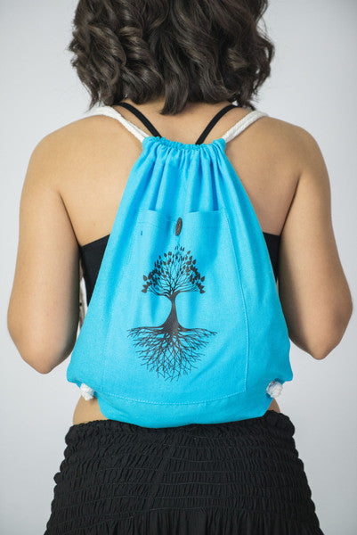 Tree of Life Drawstring Cotton Canvas Backpack in Blue