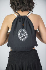 Ohm Drawstring Cotton Canvas Backpack in Silver on Black
