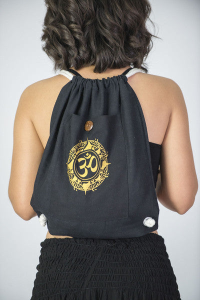 Ohm Drawstring Cotton Canvas Backpack In Gold...