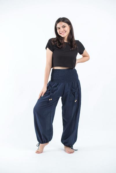 Women's Thai Smocked Waist Cotton Pants in Navy