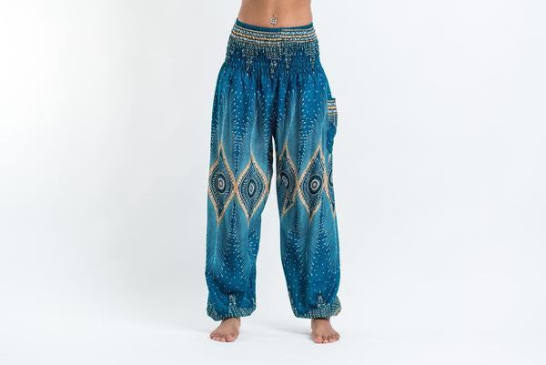 Diamond Peacock Harem Pants in Turquoise