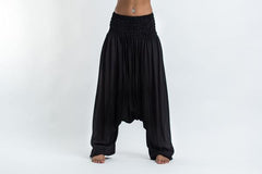 Solid Color Low Cut Harem Pants in Black