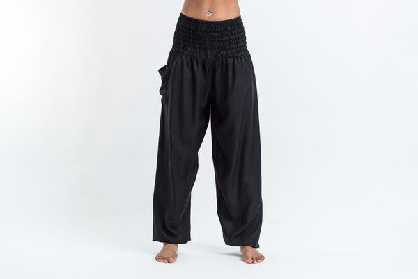 Solid Color Harem Pants in Black