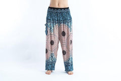 Geometric Mandalas Harem Pants in Blue Silver