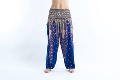 Peacock Feathers Harem Pants in Blue