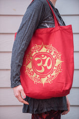 NEW Recycled Cotton Canvass Shopping Tote Bag Om Red