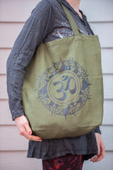 NEW Recycled Cotton Canvass Shopping Tote Bag Om Green