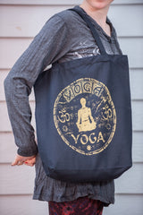 NEW Recycled Cotton Canvass Shopping Tote Bag Yoga Gold on Black