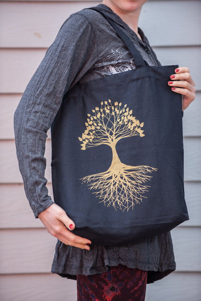 NEW Recycled Cotton Canvass Shopping Tote Bag Tree Of Life Gold on Black