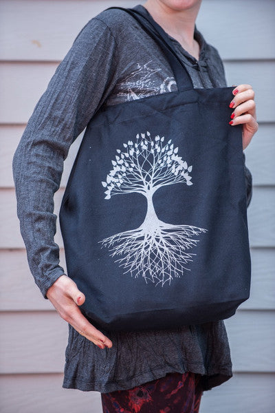 NEW Recycled Cotton Canvass Shopping Tote Bag Tree Of Life Silver on Black