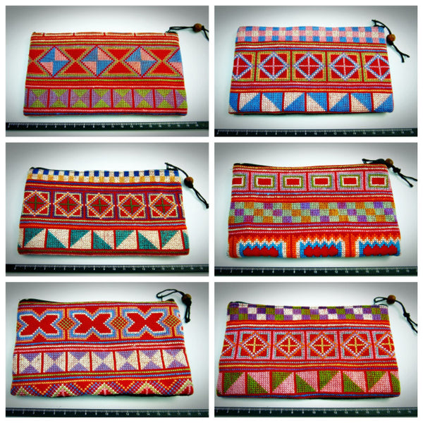 Wholesale Lot Of 10 Thai Hill Tribe Enbroidered Fabric Pouches