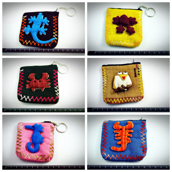 Wholesale Lot Of 10 Thai Animal Keychain Coin Purse