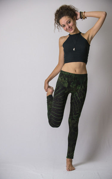 Super Soft Comfortable Womens Leggings Tie Dye Green Black
