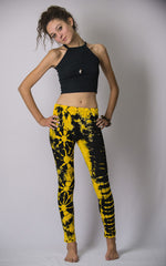 Super Soft Comfortable Womens Leggings Tie Dye Yellow Black