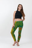 Super Soft Comfortable Womens Leggings Tie Dye Green Yellow