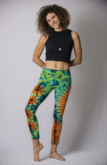 Super Soft Comfortable Womens Leggings Tie Dye Green