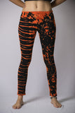 Super Soft Comfortable Womens Leggings Tie Dye Orange Black