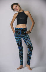 Super Soft Comfortable Womens Leggings Tie Dye Blue Black