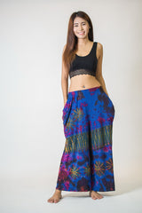 Thai Organic Cotton Wide Leg Palazzo Pants Tie Dye Royal Blue