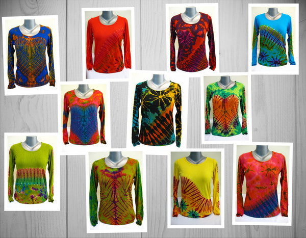 Wholesale Set of 10 Thai Hand Made Super Soft Tie Dye Shirts