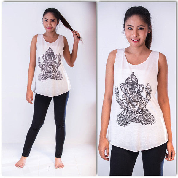 Super Soft Cotton Women's Tank Classic Ganesh White