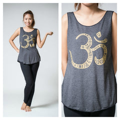 Super Soft Cotton Women's Tank Om Black Gold