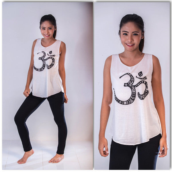 Super Soft Cotton Women's Tank Om White