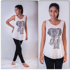 Super Soft Cotton Women's Tank Elephant White
