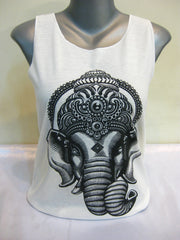 Super Soft Cotton Women's Tank Avatar Ganesh White